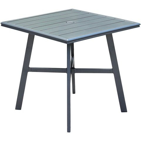"Hanover All-Weather Commercial-Grade Aluminum 30"" Square Slat-Top Bistro Table, HANCMDNTBL-30SL"