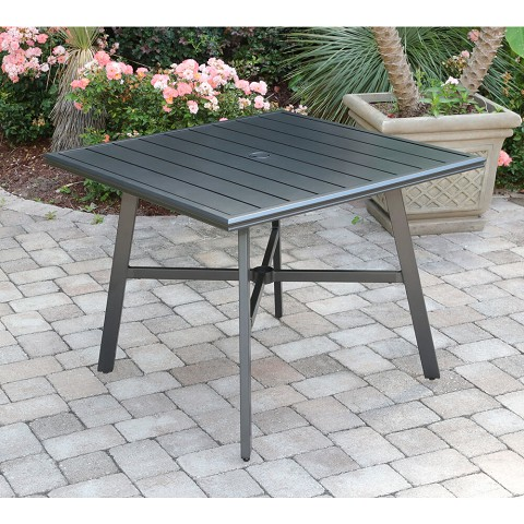 "Hanover All-Weather Commercial-Grade Aluminum 38"" Square Slat-Top Dining Table, HANCMDNTBL-38SL"