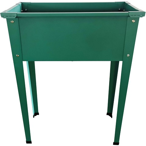 Hanover 24-In. Raised Garden Bed Planter Box with Legs for Flowers, Herbs, Vegetables - Powder-Coated Galvanized Steel, Green, HANRSGB-1GRN