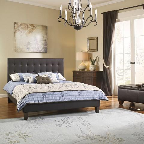 london brown leather queen platform bed frame hbedltlond brn qn - Leather Queen Bed Frame