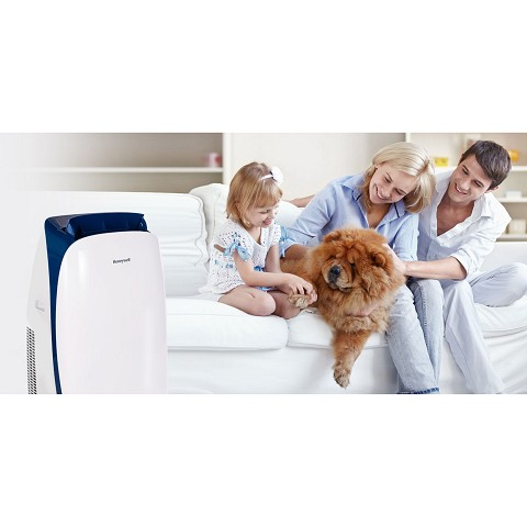 Portable Air Conditioner with Dehumidifier for Rooms Up To 450 Sq. Ft. with Remote Control (Blue/White) and Protective Cover - HL10CESWB-C