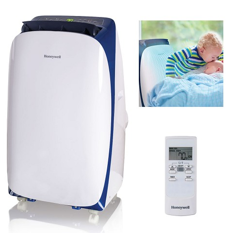 Portable Air Conditioner with Dehumidifier & Fan for Rooms Up To 550 Sq. Ft. with Remote Control (Blue/White) - HL12CESWB