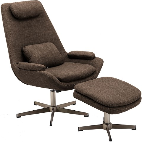 Hanover Westin Mid-Century Modern Scoop Lounge Chair and Ottoman in Chocolate Brown, HLC0201