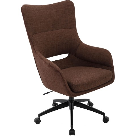 Hanover Carlton Wingback Office Chair in Chocolate Brown with Adjustable Gas Lift Seating, Caster Wheels, and Chrome base, HOC0008