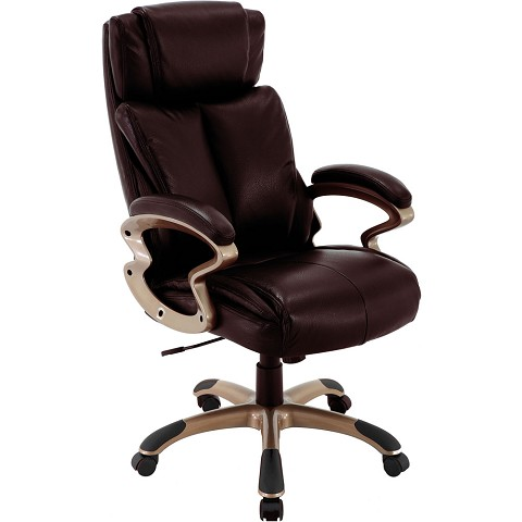 Hanover Atlas Executive Office Chair with Upholstered Faux-Leather Seat in Brown and Copper-Wheeled Base, HOC0010