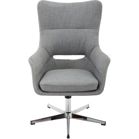 Hanover Carlton Wingback Stationary Office Chair in Gray with Chrome base, HOC0013