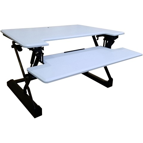 Hanover 35-In. Wide White Tabletop Sit or Stand Lift Desk with Adjustable Height for Offices, Schools, and Writing Stations, HSD0402-WHT