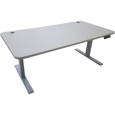 "Hanover 63"" x 31"" Powered Electric Sit or Stand Table Desk for Standing Work Spaces in Gray with Programmable Height Preferences, HSD0431-GRY"