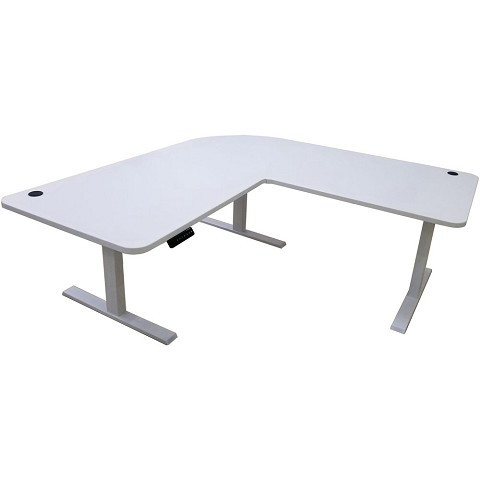 "Hanover 73"" x 73"" Powered Electric Sit or Stand L-Shaped Desk for Standing Work Spaces in White with Programmable Height Preferences, HSD0451-WHT"