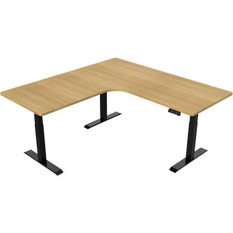 Hanover 73-In. L-Shaped Sit or Stand Electric Height Adjustable Desk with Triple Motor System, Natural and Black, HSD0452-NAT1