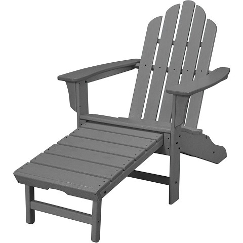 All-Weather Contoured Adirondack Chair with Hideaway Ottoman in Grey - HVLNA15GY