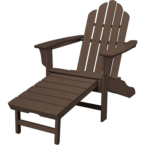 All-Weather Contoured Adirondack Chair with Hideaway Ottoman in Mahogany -HVLNA15MA