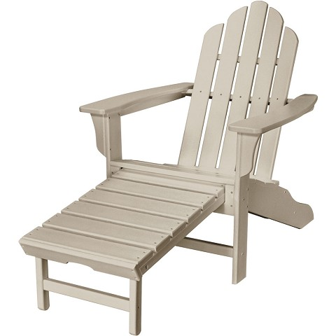 All-Weather Contoured Adirondack Chair with Hideaway Ottoman in Sandy Shore - HVLNA15SA