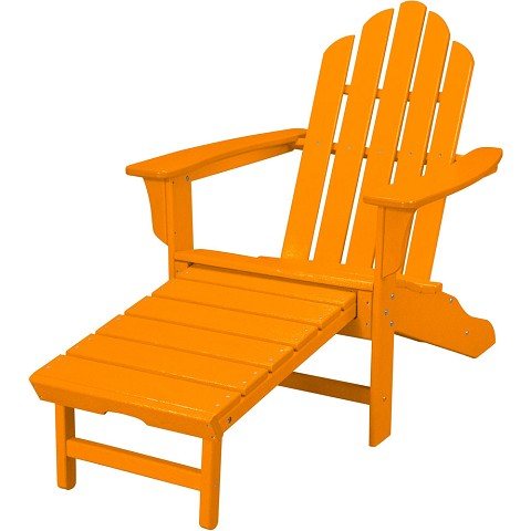 All-Weather Contoured Adirondack Chair with Hideaway Ottoman in Tangerine - HVLNA15TA