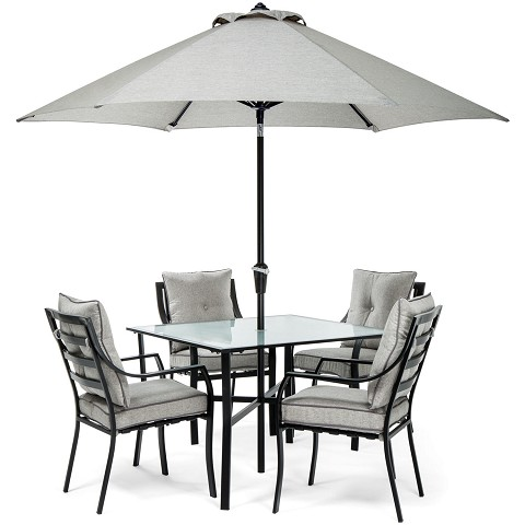 Lavallette 5PC Dining Set in Gray with Table Umbrella and Stand - LAVDN5PC-SLV-SU
