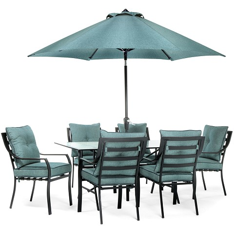 Lavallette 7PC Outdoor Dining Set in Ocean Blue - LAVDN7PC-BLU-SU