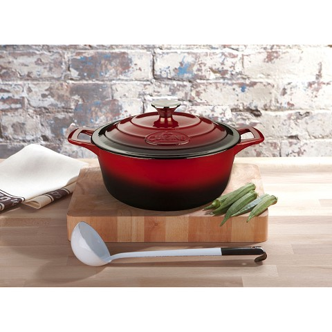 La Cuisine Round 5 Qt. Cast Iron Casserole with Enamel Finish in Red - LC 2100