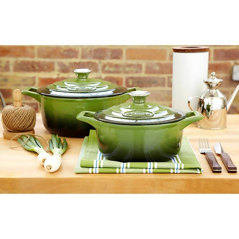 La Cuisine PRO 4 Pc. Round Cast Iron Casserole Set with Enamel Finish in Green - LC 2350MB