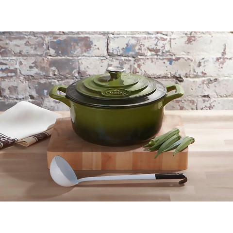 La Cuisine 6 Pc. Round Cast Iron Casserole Set with Enamel Finish in Green - LC 2450
