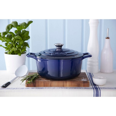 La Cuisine PRO 6 Pc. Round Cast Iron Casserole Set with Enamel Finish in Blue - LC 2470MB