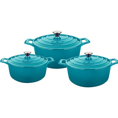 La Cuisine 6 Pc. Round Cast Iron Casserole Set with Enamel Finish in High Gloss Teal - LC 2475