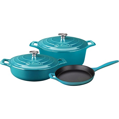 La Cuisine PRO 5PC Enameled Cast Iron Cookware Set in High Gloss Teal (Round Casserole) - LC 2675MB