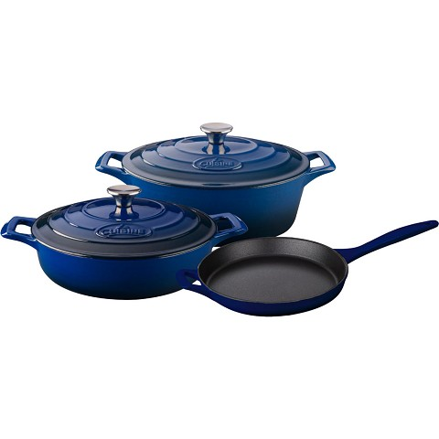 La Cuisine 5PC Enameled Cast Iron Cookware Set in Blue (Oval Casserole) - LC 2770