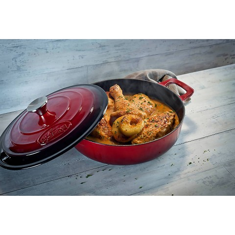 La Cuisine PRO 6PC Enameled Cast Iron Cookware Set in Red (Round Casserole/Trivet) - LC 2800MB