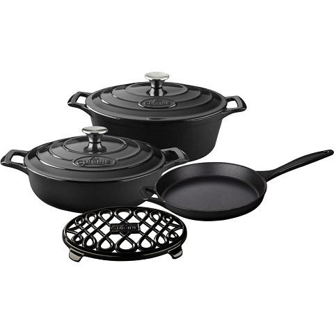 La Cuisine PRO 6PC Enameled Cast Iron Cookware Set in Black (Oval Casserole/Trivet) - LC 2940MB