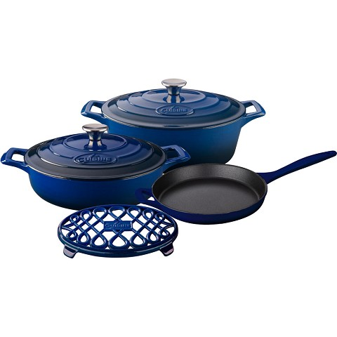 La Cuisine 6PC Enameled Cast Iron Cookware Set in Blue (Oval Casserole/Trivet) - LC 2970