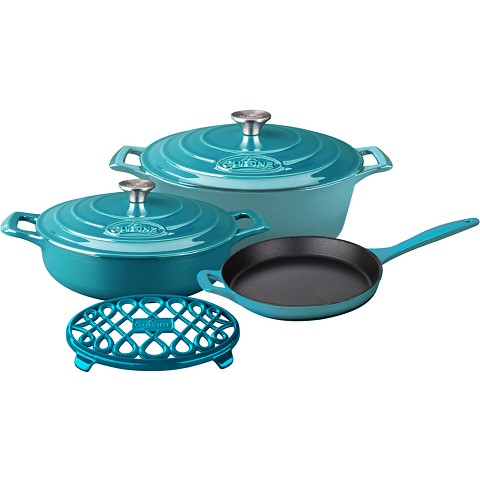 La Cuisine 6PC PRO Enameled Cast Iron Cookware Set in Teal - LC 2975MB