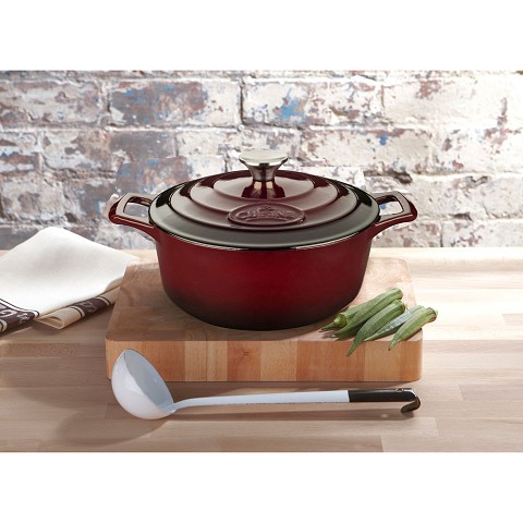 La Cuisine Round 3.7 Qt. Cast Iron Casserole with Enamel Finish in Ruby - LC 5105
