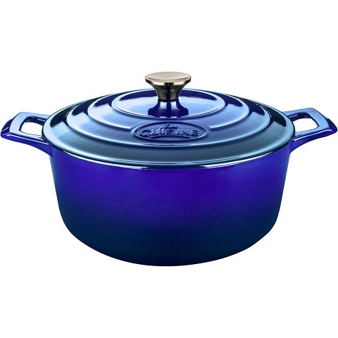 La Cuisine Round 3.7 Qt. Cast Iron Casserole with Enamel Finish in High Gloss Sapphire - LC 5179