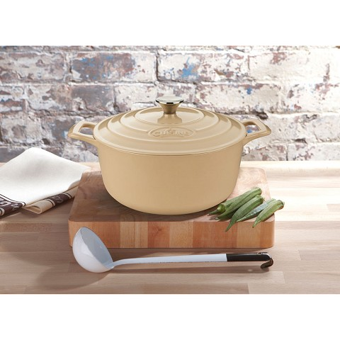 La Cuisine Round 3.7 Qt. Cast Iron Casserole with Enamel Finish in Cream - LC 5185