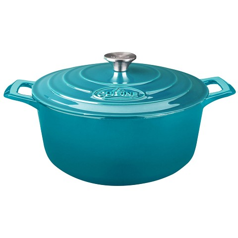 La Cuisine Round 6.5 Qt. Cast Iron Casserole with Enamel Finish in High Gloss Teal - LC 5275