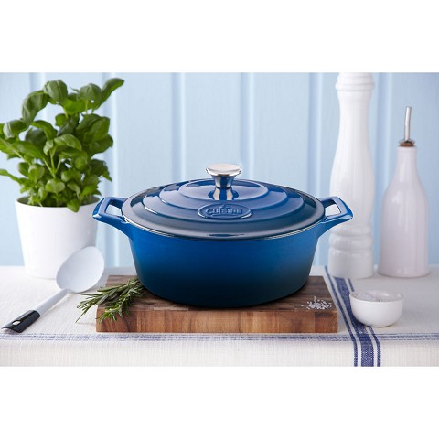 La Cuisine Oval 6.75 Qt. Cast Iron Casserole with Enamel Finish in Blue - LC 6270