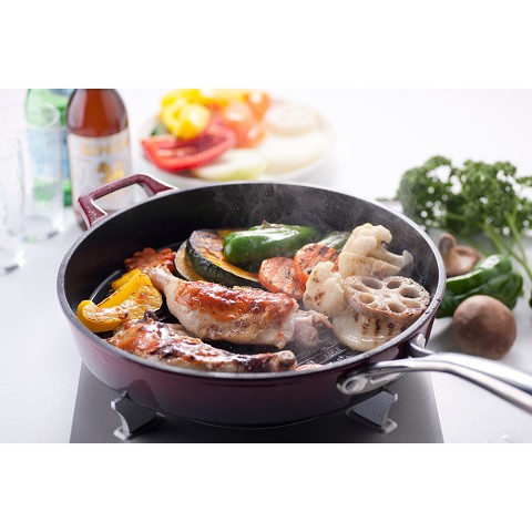 La Cuisine 12 In. Cast Iron Grill Pan with Enamel Finish in Ruby - LC 7205