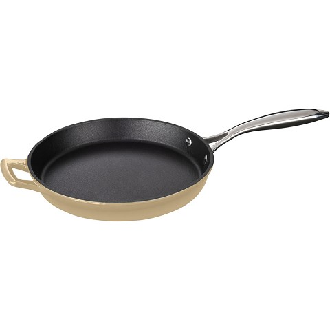 La Cuisine 10 In. Cast Iron Fry Pan with Enamel Finish in Cream - LC 7385