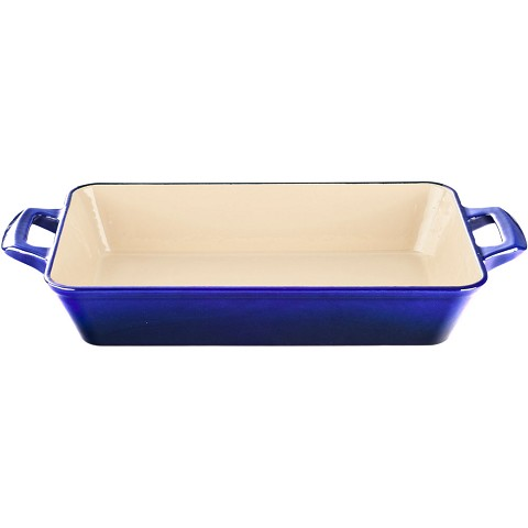 La Cuisine Small Deep Cast Iron Roasting Pan with Enamel Finish in High Gloss Sapphire - LC 8279