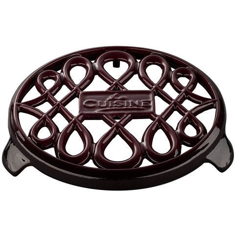 La Cuisine 7 In. Round Cast Iron Trivet in Ruby - LC 8505