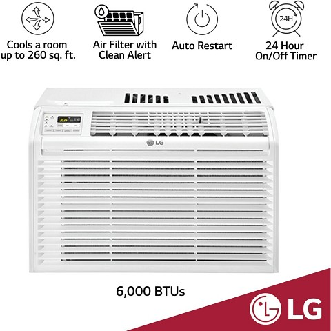 LG 6,000 BTU 115V Window Air Conditioner with Remote Control - LW6017R