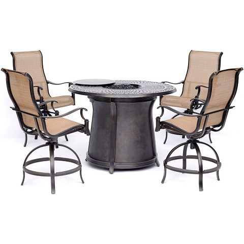 Hanover Manor 5-Piece High-Dining Set in Tan with 4 Swivel Chairs and a 40,000 BTU Cast-top Fire Pit Table - MAN5PCFPRD-BR