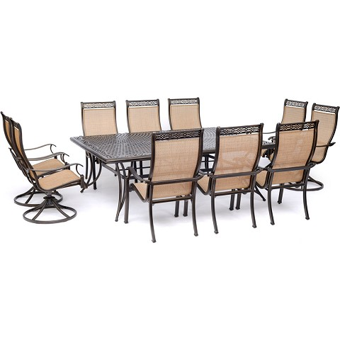 "Hanover Manor 11-Piece Dining Set with 6 Sling Chairs, 4 Swivel Rockers, and an Extra-Large 60"" x 84"" Cast-Top Dining Table - MANDN11PCSW4"