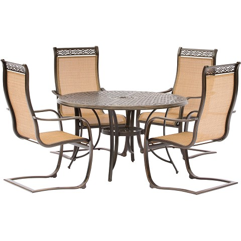 Manor 5PC Outdoor Dining Set with C-Spring Chairs and a Cast-top Dining Table - MANDN5PCSP