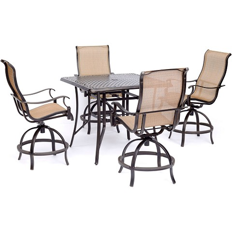 "Hanover Manor 5-Piece High-Dining Set with 4 Contoured Swivel Chairs and a 42"" x 42"" Cast-top Table - MANDN5PCSQBR"