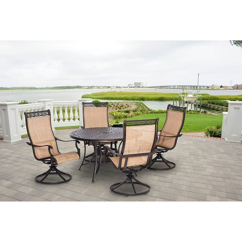 Manor 5PC Outdoor Dining Set with Four Swivel Rockers - MANDN5PCSW-4