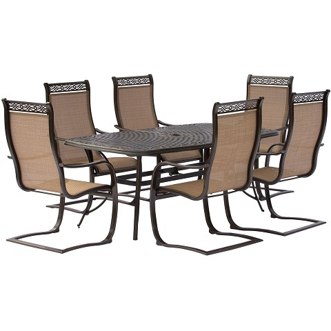 Manor 7PC Dining Set with Six C-Spring Chairs and a 72 x 38 In. Cast-top Dining Table - MANDN7PCSP