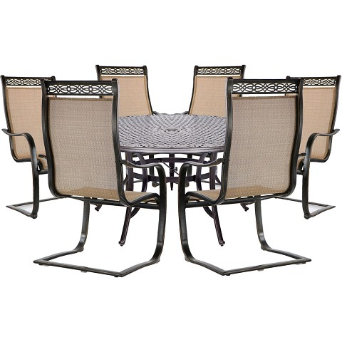 Hanover Manor 7-Piece Dining Set with Six C-Spring Chairs and a 60 In. Cast-top Dining Table - MANDN7PCSPRD