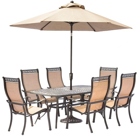 Manor 7PC Dining Set with 6 Chairs, 72 x 38 In. Cast-top Table, 9 Ft. Umbrella and Stand - MANDN7PC-SU