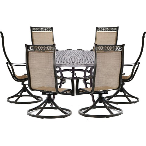 Hanover Manor 7-Piece Outdoor Dining Set with Six Swivel Rockers and a Large 60 In. Cast-top Dining Table - MANDN7PCSWRD6